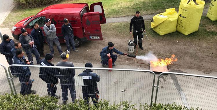 Brandövning med Viveres personal